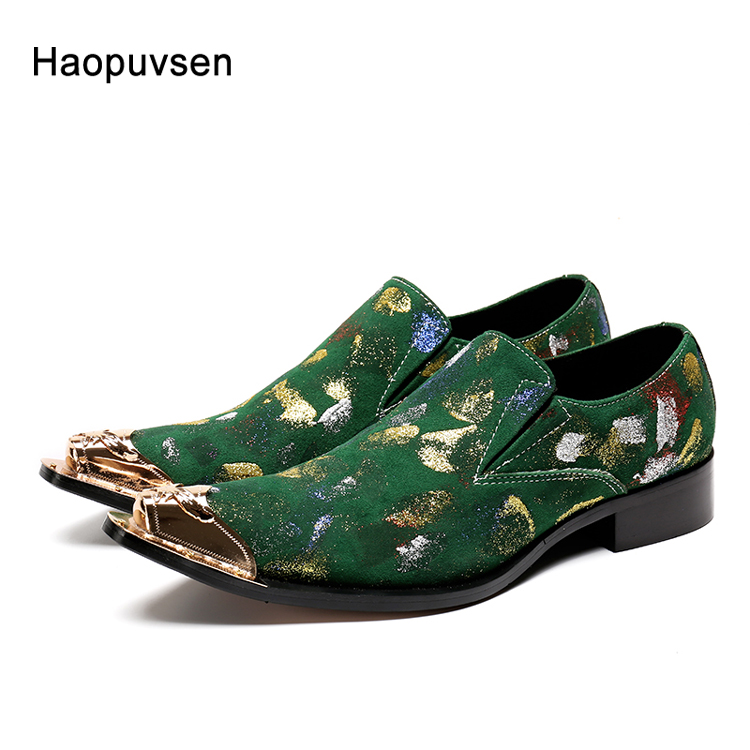 2018 brand Haopuvsen New Handmade Suede leather Men Wedding shoes Fashion loafers Luxury party men shoes