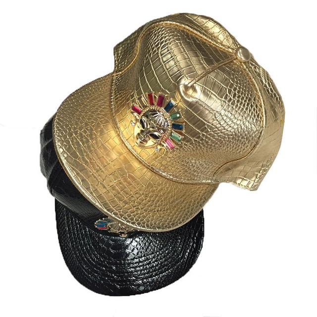2017 recién llegado de alta calidad ósea último rey snapback de cuero negro oro plata rey reina snapback gorras de béisbol ajustable