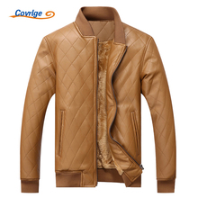 Covrlge Leather Jacket Men Winter Plus Thick Men's PU Jackets Casual Overcoat Coats Brand Clothing Rock Leather Jacket MWP007