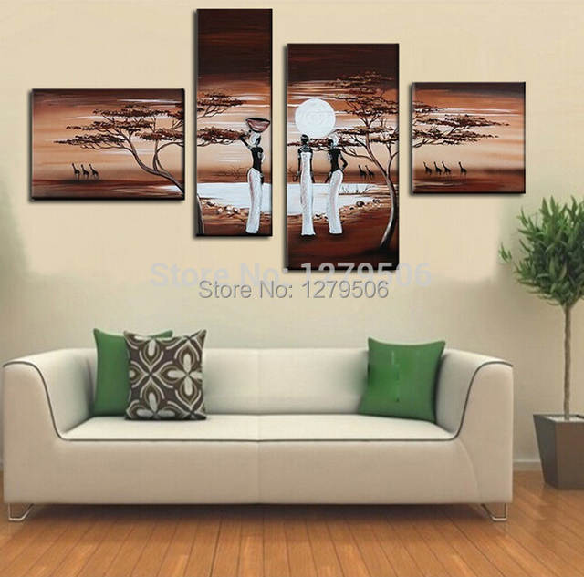 Placeholder Hand Painted 4 Piece Set Oil Painting On Canvas Wall Decor South Africa Women Paintings