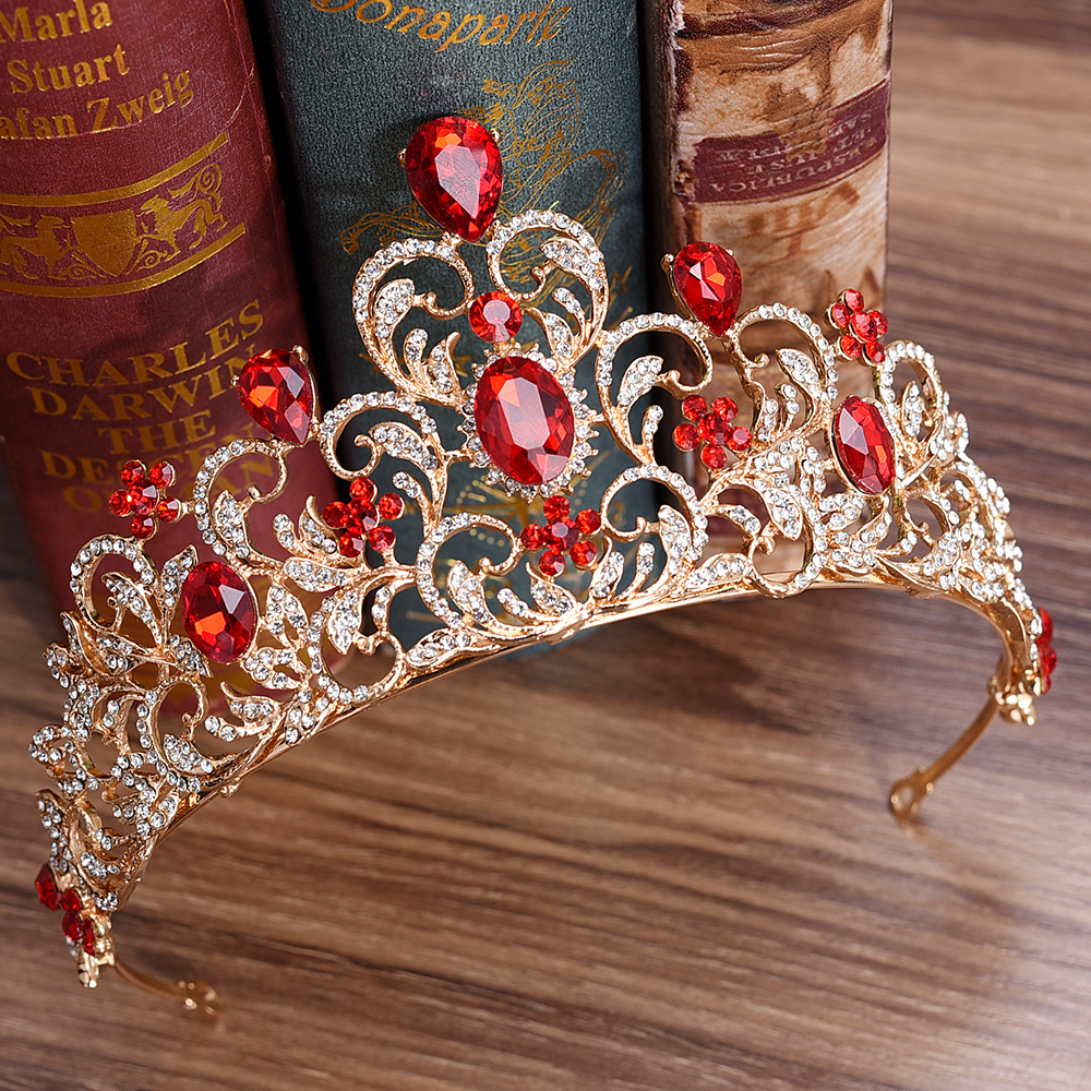KMVEXO Red Green Crystal Wedding Crown Queen Tiara Bride Crown Headband Bridal Accessories Diadem Mariage Hair Jewelry Ornaments red crystal wedding crown queen tiara bride crown headband bridal accessories diadem mariage hair jewelry ornaments