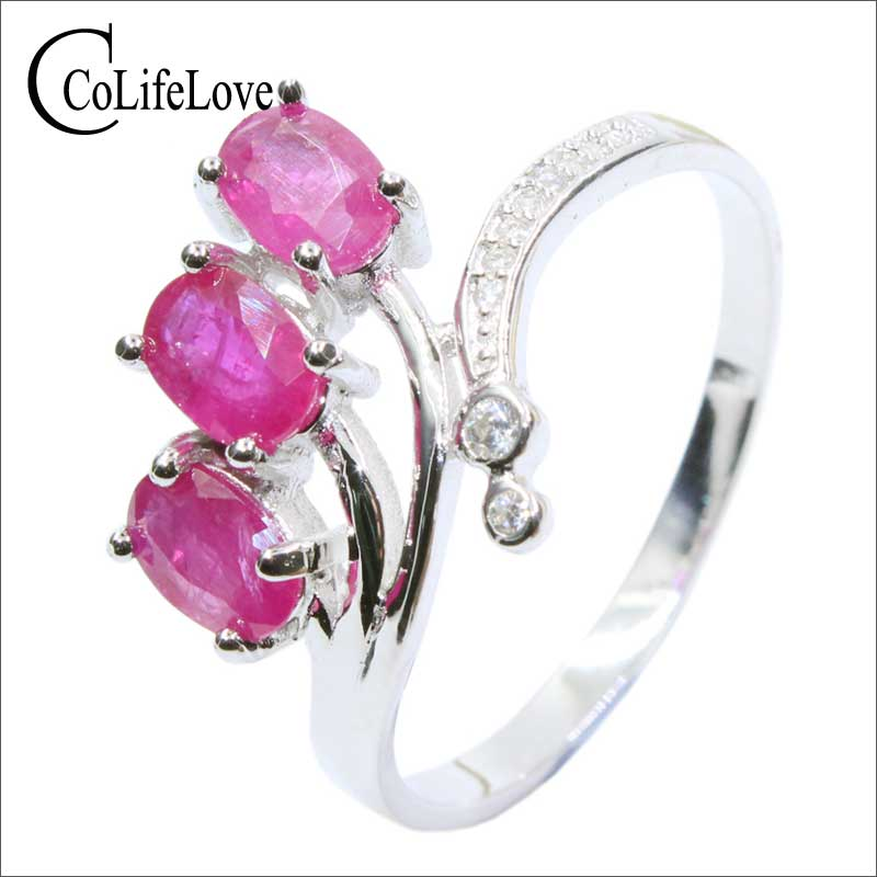 купить 2016 new ruby ring for proposal 3 pcs 4*6 mm natural ruby ring solid 925 sterling silver classic 925 silver ruby ring for woman по цене 3172.76 рублей