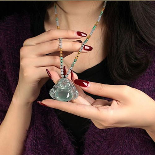 Из натуральной-класс бирманский камень кулон резной Будда ожерелье обувь для мужчин и женщин нефриты украшений Детский Стиль