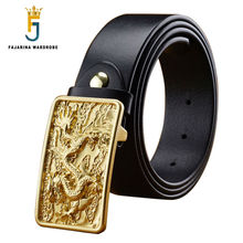 FAJARINA Designer Mens Blank Smooth Dragon Pattern Brass Buckle Belts Cowskin Genuine Leather Men's Belt for Men 38mm NW0093