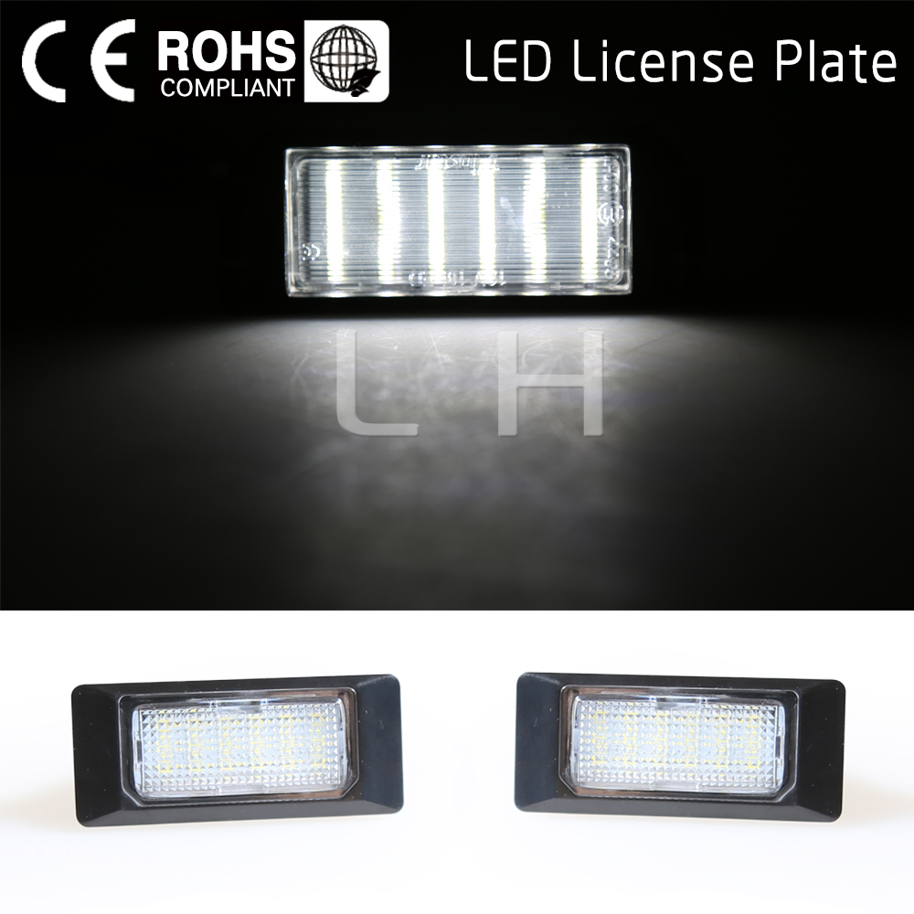 2Pcs White 6500K 18 LED 12V Number License Plate Light Rear Tail Lamp For VW/Golf/Jetta/Passat/Polo/Audi Car LED Lights 2pcs car led license number plate light lamp 6w 12v 24 led white light for ford focus 2 c max