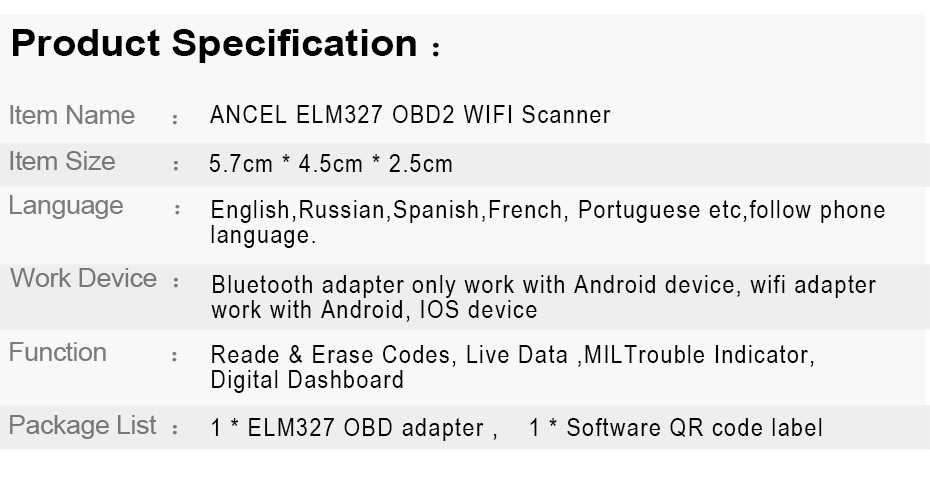 Ancel OBD2 Scanner ELM327 WIFI V1 5 Supports Android/iOS/Windows Engine  Code Reader ELM 327 Wi-Fi OBD Diesel Car Diagnostics