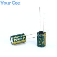100 шт. электролитический Конденсаторы высокой частоты 25 В 470 мкФ 8×14 мм Алюминий электролитический конденсатор