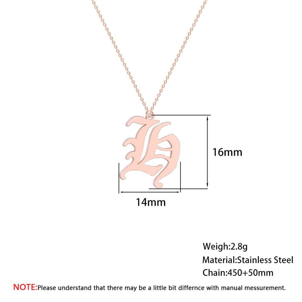 CHENGXUN 26 Old English Initial Letters Metal Pendants Necklace for Woman Girls Stainless Steel Names Birthday Presents
