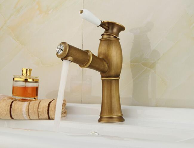 New Antique golden brass bathroom & kitchen pull out faucets hot and cold water basin taps single handle sink tap faucet pull out bathroom faucet brass basin faucets mixer hot cold water taps single hole single handle pull down faucets bathroom