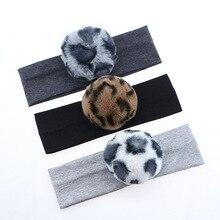 Sunlikeyou New Arrival 2019 HairBands For Newborn Boys Girls Cotton Leopard Print Faux Fur Pom Elastic Turban Baby Headband