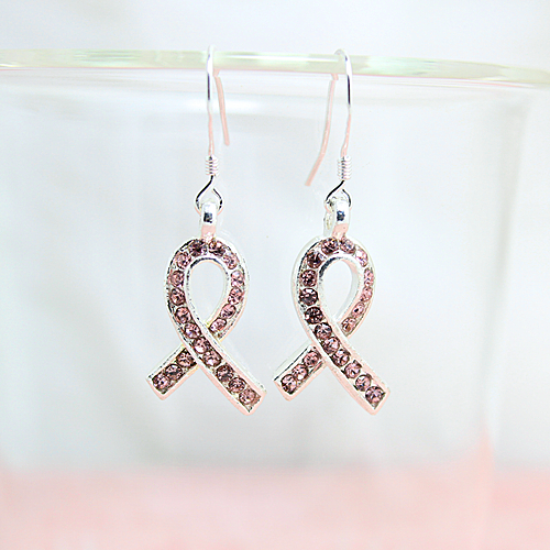 Breast Cancer Awareness Pink Ribbon Rhinestone Earring for World AIDS