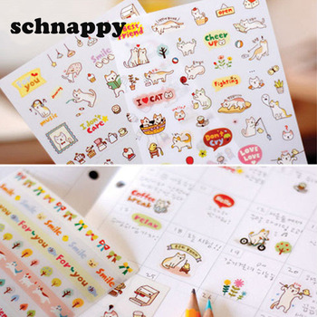 Cute Lovely 6 Sheet Paper Stickers for Diary Scrapbook Notebook Wall Decor DIY Cartoon Scrapbooking Stickers Children Play Toys