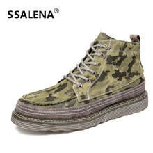 Men Classic Genuine Leather Ankle Boots Vintage Camouflage Lace Up Short Boots Fashion High Top Oxfords Shoes AA11702