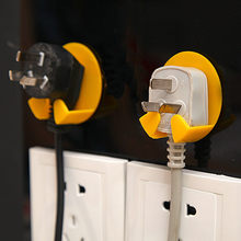 Great Quality Plastic 4 Pcs Power Plug Socket Jack Hook Rack Holder Hanger Home Wall Decor Organizer Drop Shipping(China)