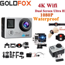 Ультра HD 4K экшн-камера Wifi 1080P 16 МП двойной экран 170D Go Водонепроницаемая профессиональная камера на шлем 4K Спортивная камера Мини DVR+ пульт дистанционного управления
