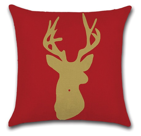 Image 2 - 2pcs Colorful Leaves Deer Red Snowflake Water Colored Gemetric Creative Animal Beautiful Pillow Cover Cushion Cover for Sofa-in Cushion Cover from Home & Garden