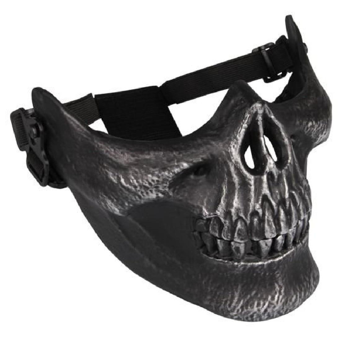 Prix pour Qualité Crâne Squelette Airsoft Paintball Moitié Du Visage Protéger Masque Casques Équipement de Paintball Masques Pour Paintball Jeux Noir NOUVEAU