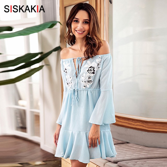 955f534f3ed3 Siskakia Mini Dress Fall 2018 Off Shoulder Slash Neck Flare long Sleeve  Fashion patchwork Women Dresses A line Draped Swing Blue