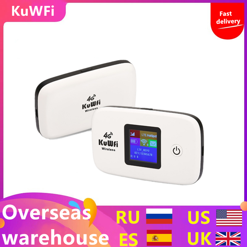 KuWFi Unlocked 4G LTE Wireless Router 150Mbps Outside Travel Wifi Router 3G/4G Mobile WiFi Hotspot Support LTE FDD B1/B3/B5-in 3G/4G Routers from Computer & Office