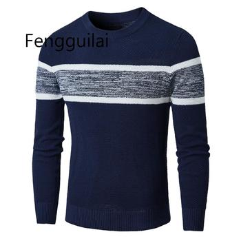 Men Autumn Casual Knitted Soft Cotton Sweaters Pullover 2019 Winter New Fashion Striped O-Neck Sweater Coat 3XL