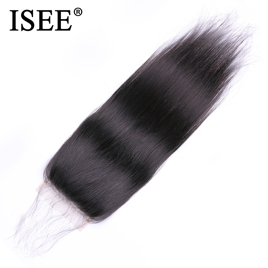 ISEE HAIR Peruvian Straight Hair Closure Free Part Hand Tied Lace Closure Remy Human Hair Extension Free Shipping Nature Color