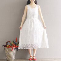 2017 New Spring And Summer High Quality Pur Cotton Art Style Lace Embroidery Vest Dress Sleeveless Casual Loose Dress YP0164