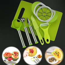 Creative Gifts Cut Fruit Carved Tools Set Knife Apple Splitters Dual Use Digging Ball Spoon chopping board TB