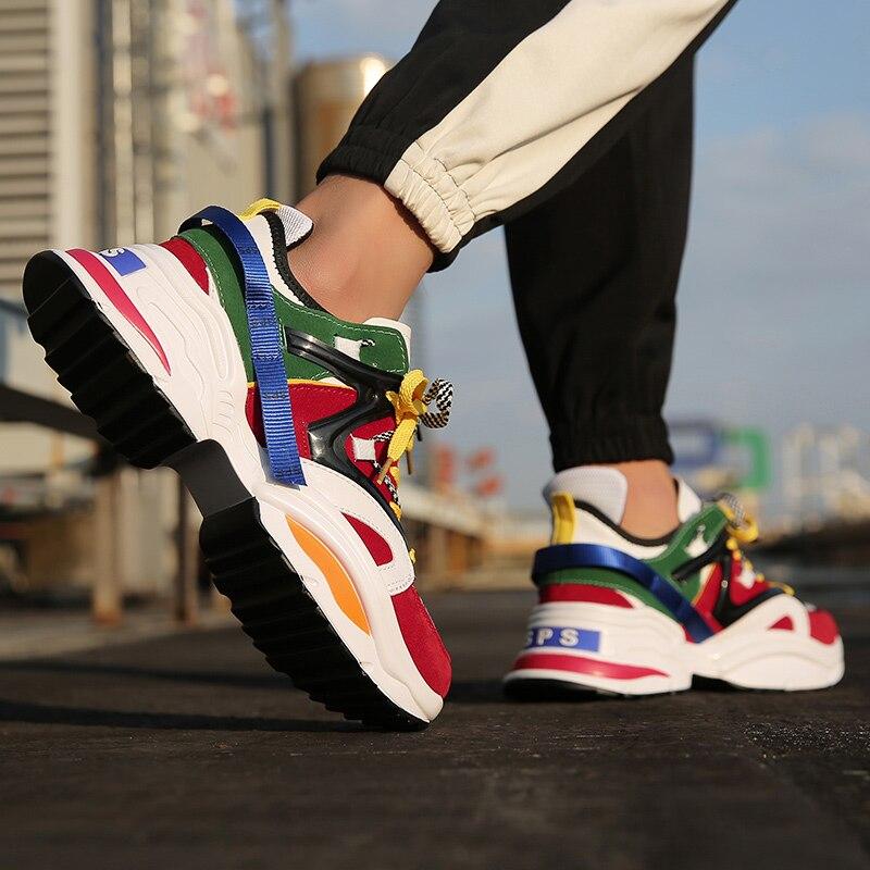Doré Plant Baskets à Plateforme Hommes Respirant Chaussures de Course Rétro Formateur Mâle Sport Sneaker D'air En Cuir Homme Chaussures Sport - 2