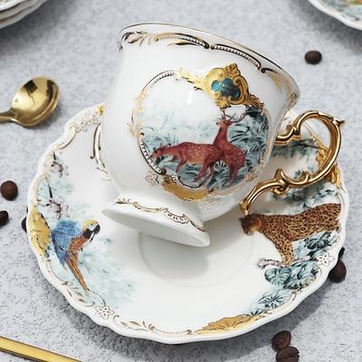 Новое поступление фарфоровая кофейная чашка набор джунглей животных кофейная чашка и блюдце Птица Обезьяна Стиль Золотая кость Китай чайная чашка - Цвет: 05