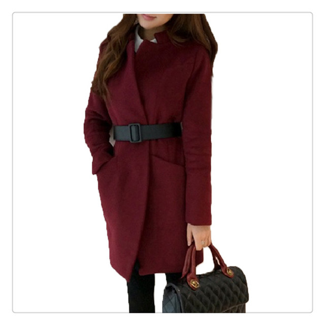 Más tamaño de abrigo Trench con cinturón de lana alta calidad primavera otoño invierno nueva moda largo mujeres red Coat prendas de vestir exteriores