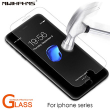 Mwihphms 2PC tempered glass For iphonex 6 6s 7 8 plus 4s 5 5s screen protector protective guard film for iphone se front cover