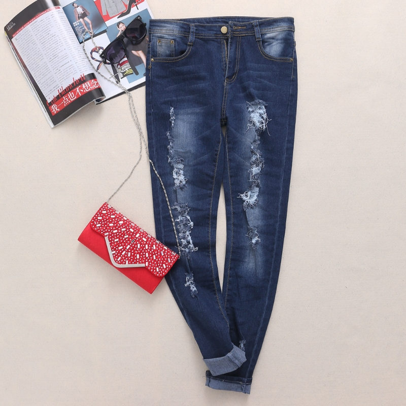 jeans woman Plus size 2017 Fashion Ladies Denim Pants Stretch Womens Bleach Ripped Skinny Jeans Denim Jeans For Female new  rosicil hot fashion ladies cotton denim pants stretch womens bleach ripped hole knee skinny jeans denim jeans for female tps6628