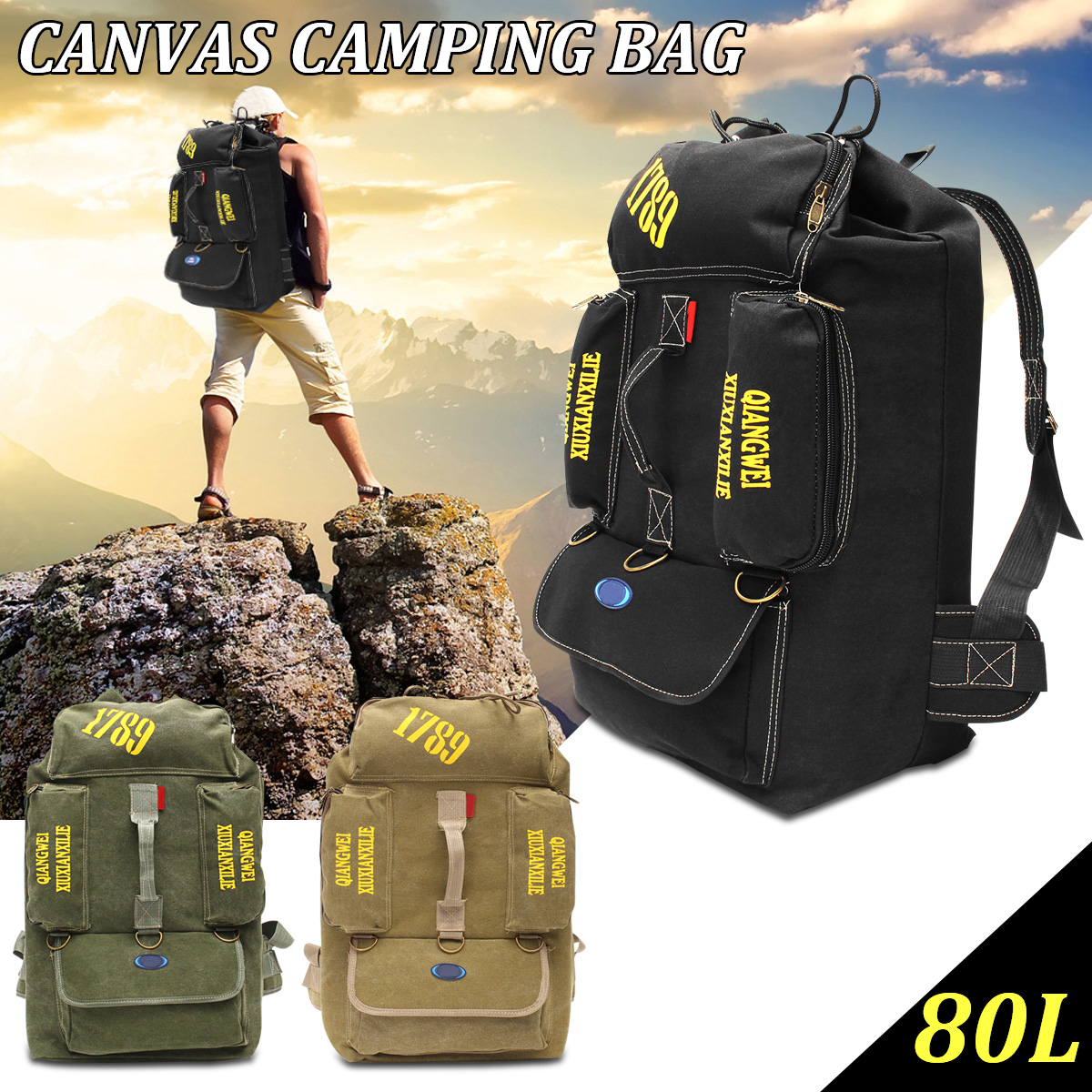 80L Large Capacity Outdoor Sport Bags Camping Hiking Canvas Backpack Mountaineering Travel Rucksack Army Military Trekking Bag 80l outdoor backpack large capacity camping camouflage military rucksack men women hiking backpack army tactical bag