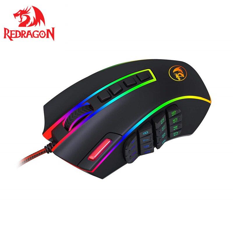 Игровая мышь Redragon 24000 точек/дюйм 24 кнопки эргономичный дизайн для настольного компьютера аксессуары программируемые лазерные мыши геймер