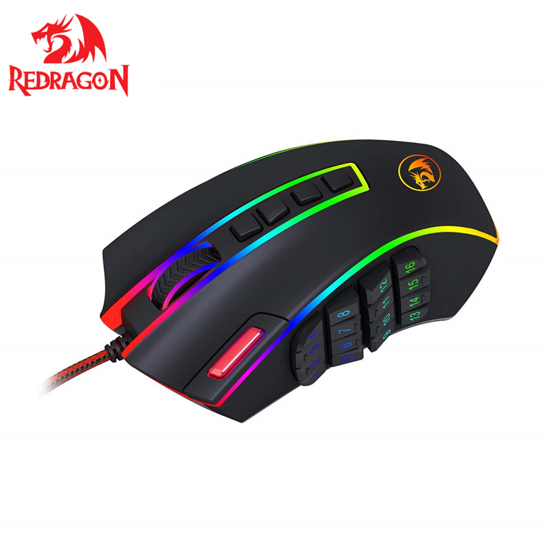 Redragon Gaming Mouse 24000 DPI 24 Buttons Ergonomic Design For Desktop Computer Accessories Programmable Laser Mice Gamer M990
