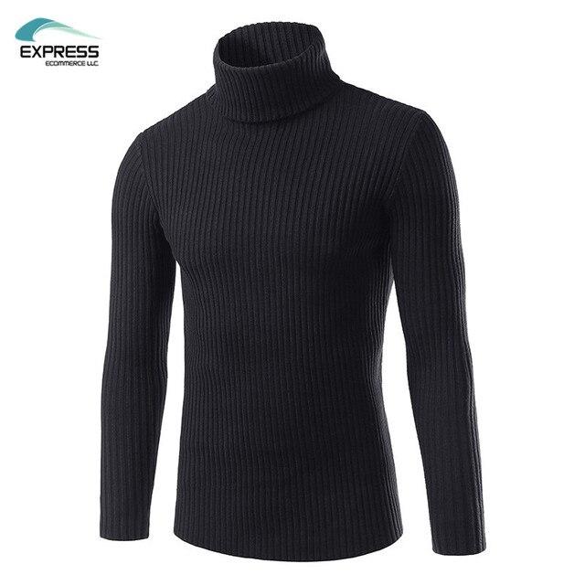 2017 Nova Moda Inverno Marca Camisola de Gola Alta Pullover Camisolas Dos Homens Dos Homens Casual Soild