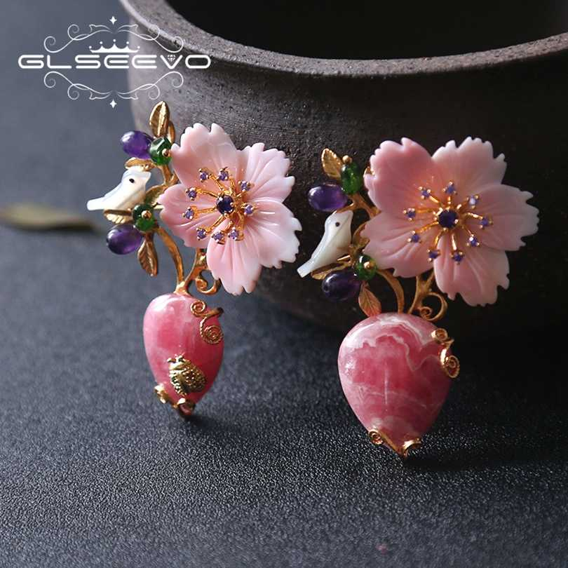 GLSEEVO Natural Rhodochrosite Stone Brooch Pins Mother Of Pearl Flower Bird Brooches For Women Dual Use Luxury Jewelry GO0202