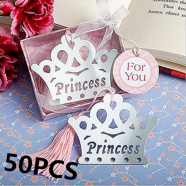 50PCS Exquisite Princess Crown Bookmarks Regalos De Boda Para Los Invitados Baby  Shower Souvenirs For Girl