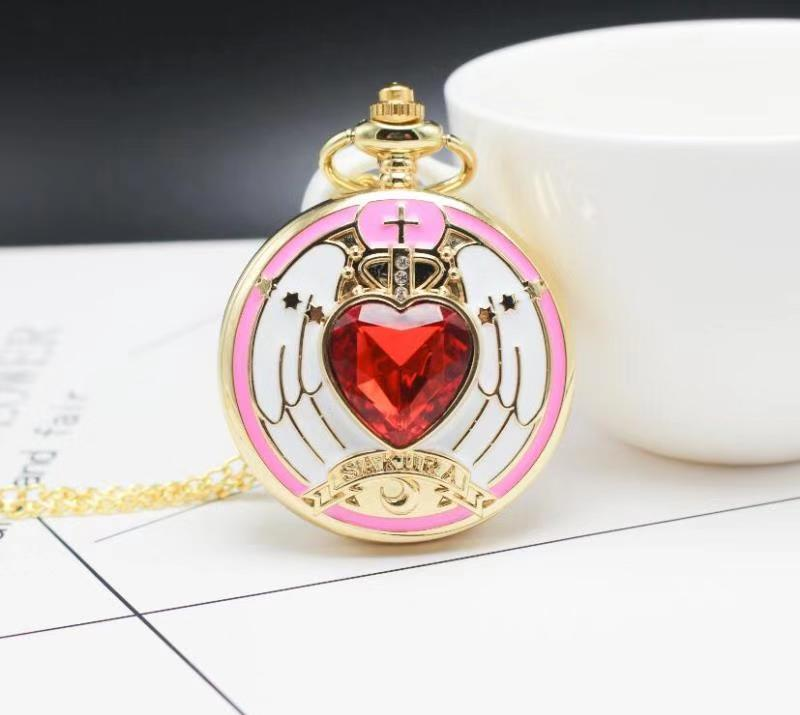 Golden Magic SAKURA Pendant Pocket Watch For Girls Classic Anime Necklace Clock Gifts For Students Woman Gift Watch