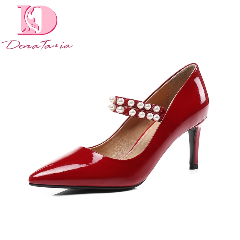 Doratasia Brand Design Genuine Leather Mary Janes Thin High Heels String Bead Shoes Woman Sexy Spring Pumps Big Size 33-43 doratasia 2018 spring autumn shallow women mary janes pumps big size 34 43 high wedges comfortable platform shoes woman