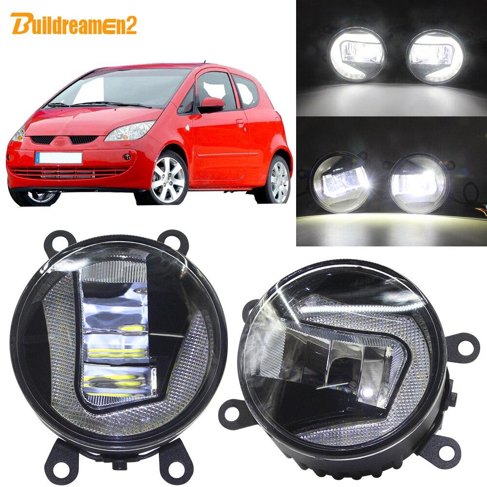 Buildreamen2 voiture 90mm projecteur LED antibrouillard + feux de jour DRL blanc 12V pour Mitsubishi Colt Hatchback 2004-2012