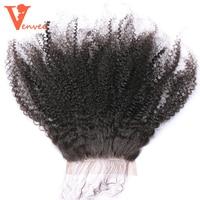 5X5 Afro Kinky Curly Silk Base Lace Closure 100 Human Hair Mongolian Remy Hair Natural Black