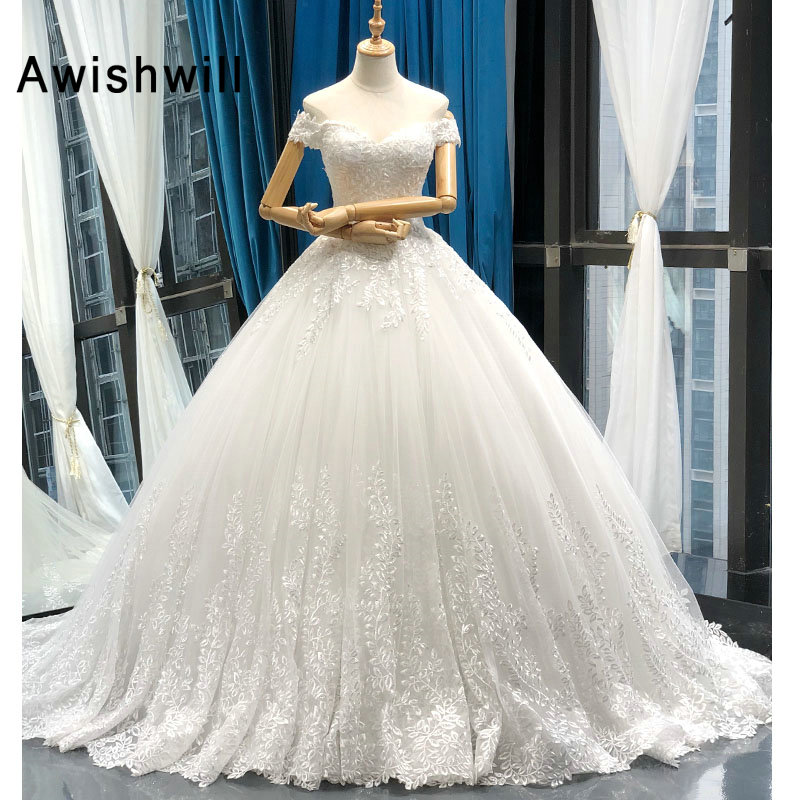 Vestido de Noiva 2020 Princess Wedding Dresses Off Shoulder Applique Lace Ball Gown Bridal Dress Plus Size Robe De Mariee