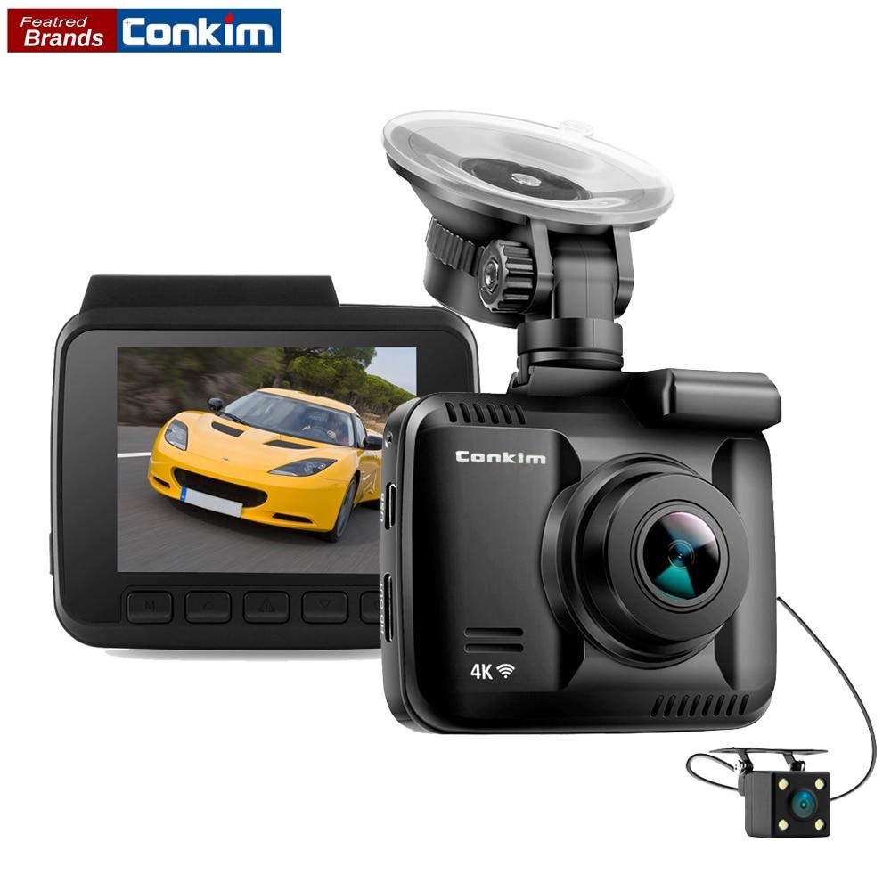Conkim Автомобильный видеорегистратор novatek с двумя камера ultra 4k HD DVR тире камера Встроенный gps Wi Fi Cam автомобиля видео регистраторы заднего вида ...