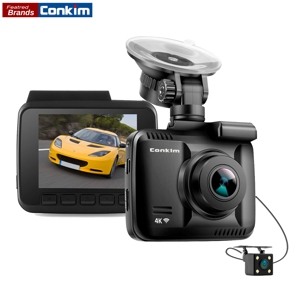 Conkim Novatek Car DVR With Two Camera Ultra 4K HD DVR Dash Camera Built In GPS WIFI Cam Car Video Recorder Rear View Lens Dual dual lens wifi car dvr camera video recorder novatek 96660 built in gps 4k dash cam 2880x2160p dual cameras for front and rear