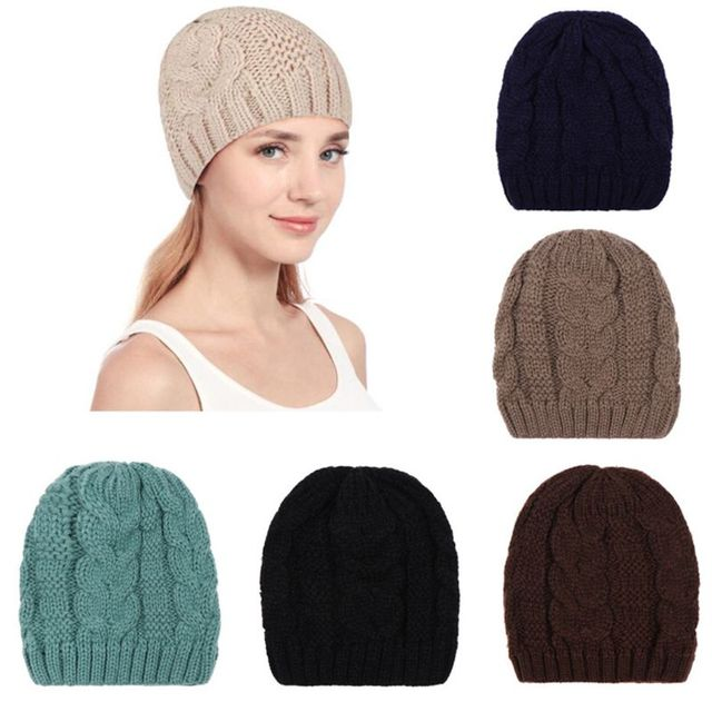 Women Men Unisex Winter Thick Cable Knitted Hat Ribbed Twist Braided Crochet  Slouchy Beanie Cap Loose Warmer W729 ea8aef41ee