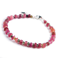Natural Tourmaline Quartz Gems AAAAA Crystal Bracelet Fashion Silver Jewelry Link Chain Bracelets For Women Female