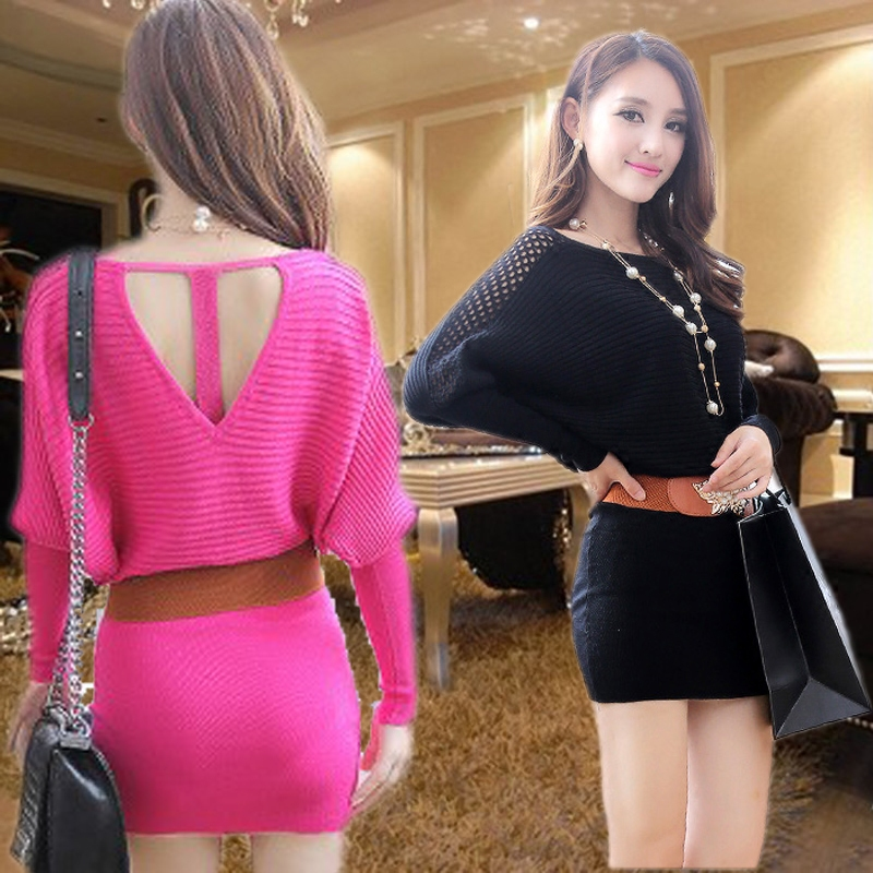 Spring and Autumn female temperament Slim package hip bottoming long-sleeved big yards bat sleeve knit sweater dress