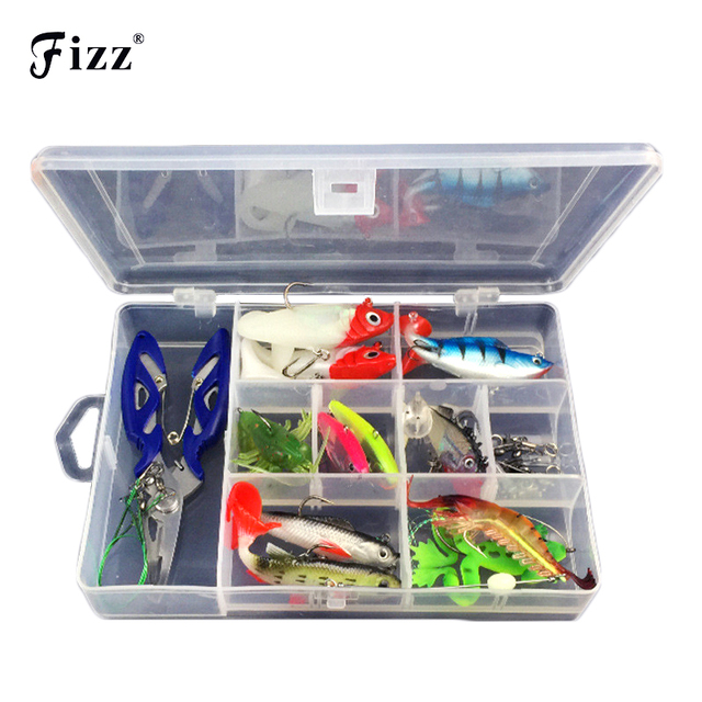 33pcs/Set Lead Head Soft Fishing Lure Frog Shrimp Jig Lures Fishing Accessories Tools Tackle Box+Pliers /Wire /Connector /Rings