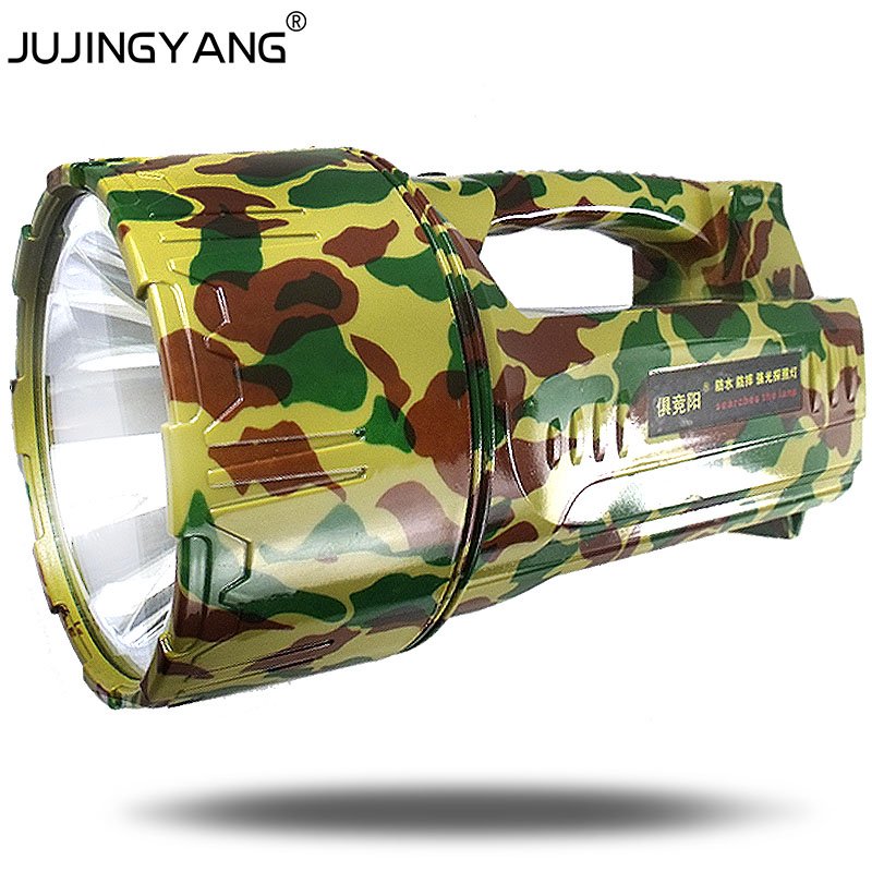 JUJINGYANG long range flashlight rechargeable portable spotlight outdoor emergency 20W LED searchlight for hunting,fishing portable flashlight torch light led rechargeable searchlight 30w long range bright spotlight for hunting and camp